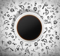 Top View Of A Cup Of Coffee And A Lot Of Educational Black Icons Are Drawn Around It.  Royalty Free Stock Photos - 62613448