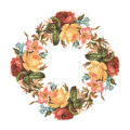 Vintage Red Pink And Yellow Vintage Rose Flower Bouquet Wreath Stock Photography - 62621492
