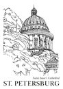 ST. PETERSBURG, RUSSIA - Saint Isaac S Cathedral, Hand Drawn Sketch On Paper. Architecture Black White Vector Stock Images - 62626644