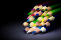 Colored Pencils On A Black Background Shadow Royalty Free Stock Image - 62639526