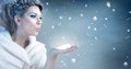 Winter Woman  Blowing Snow - Snow Queen Stock Photos - 62653603