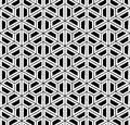 Vector Modern Seamless Sacred Geometry Pattern Hexagon, Black And White Abstract Stock Photos - 62668093