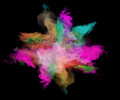 Freeze Motion Of Colored Dust Explosions On Black Royalty Free Stock Photos - 62672428