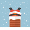 Santa Claus Stuck In The Chimney Stock Image - 62678601