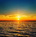 Orange Sunset Over River Royalty Free Stock Image - 62679306