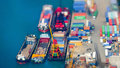 Cargo Ships With Containers At Port Terminal. Hong Kong. Tilt Sh Stock Images - 62680644