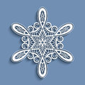 Cutout Paper Lace Snowflake, Crochet Ornament Royalty Free Stock Photography - 62683677