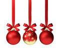 Red Christmas Balls Hanging On Ribbon With Bows, Isolated On White Royalty Free Stock Photography - 62687317