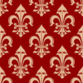 Beige And Red French Fleur-de-lis Seamless Floral Pattern Stock Images - 62727494