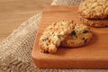 Oat Raisin Cookies On Chopping Board Royalty Free Stock Images - 62730109