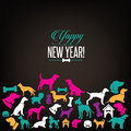 Yappy New Year Dog Silhouettes Greeting Card Design Stock Photos - 62735573