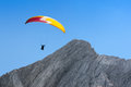 Paraglider Free Soaring In Cloudless Sky Over Dolomites Alpine M Stock Image - 62742931