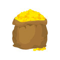 Bag Of Gold. Many Gold Coins. Open Sack Full Of Treasures.  Royalty Free Stock Photos - 62759858