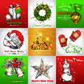 Set Of Merry Christmas And Happy New Year Vintage Royalty Free Stock Photos - 62764438