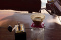 Hand Drip Coffee Set, Metal Drip Glass Pitcher In Vintage Tone Stock Image - 62775951