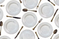 Pattern Of Vintage Dinner Plates, Knives, Forks And Spoons Stock Photo - 62799170