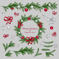 Set Of Christmas Decorations. Red And Silver Colors Royalty Free Stock Photography - 62811437