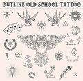 Old School Tattoo Set. Cartoon  Tattoo Elements In Funny Style:anchor, Owl, Star, Heart, Diamonds, Scull, Swallow. Outline S Royalty Free Stock Image - 62816256
