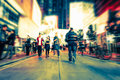 Blurred Image Of Night City Street. Hong Kong Stock Images - 62819014