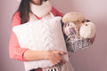Woman With Pillow Stock Image - 62820341