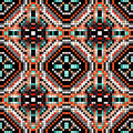 Colored Pixels In Retro Style Tribal Vintage Seamless Pattern Stock Photos - 62831023