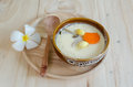 Steamed Egg On Wood Background Royalty Free Stock Photography - 62833447