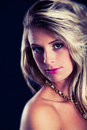 Portrait Young Blond Hair Woman, Elegant Luxury. Dark And Black Background Royalty Free Stock Image - 62834526