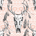 Seamless Pattern With Deer Scull, Feathers And Tribal Ornaments Stock Image - 62841941