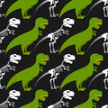 Dinosaur Skeleton And Seamless Pattern.  Stock Photography - 62843542