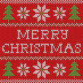 Red Knitted Christmas Sweater With Deer And Signs Seamless Pattern Stock Photography - 62844842