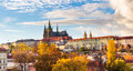 View Of Colorful Old Town And Prague Castle With River Vltava, Czech Republic Stock Image - 62859921