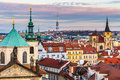 Panorama Of Prague With Red Roofs From Above Summer Day At Dusk, Czech Republic Stock Image - 62862021