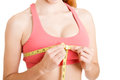 Woman Measuring Up Her Chest Stock Photography - 62865572