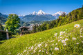 Bavarian Alps With Beautiful Flowers And Watzmann In Springtime, Bavaria, Germany Royalty Free Stock Photo - 62881385