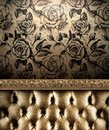 Luxurious Golden Sofa On The Roses Wallpaper Background Royalty Free Stock Image - 62900416