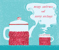 Christmas Greeting Card With Cup Tea And Kettle Background Royalty Free Stock Image - 62937406