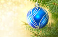 Blue Christmas Ball And Green Tree On Shiny Background With Copy Stock Image - 62948321