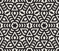 Vector Seamless Black And White Rounded Star Floral Oriental Line Pattern Royalty Free Stock Photography - 62949327