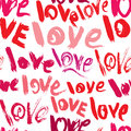 Seamless Pattern With Brush Strokes And Scribbles, Words LOVE - Stock Photo - 62971850