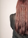 Rear View Of A Young Woman With Long Brown Hair Against Gray Background Copyspace Stock Photography - 62975152