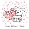 Sketch Style Hand Drawn Bear With Heart Royalty Free Stock Photos - 62979798