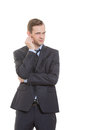 Body Language. Man In Business Suit Isolated White Stock Image - 62995401
