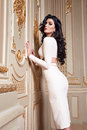 Beautiful Sexy Woman In Elegant Dress Fashionable Autumn Collection Of Spring Long Brunette Hair Makeup Tanned Slim Body Figure Ac Royalty Free Stock Images - 63001369