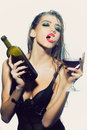 Woman With Wine Bottle And Glass Stock Photos - 63014623