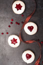Homemade Cookies With Cranberry Jam. Top View Royalty Free Stock Image - 63018226