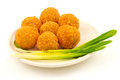 Crispy Cheese Balls With Green Onion On The Plate Royalty Free Stock Photography - 63021927