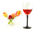 Glass Of Wine With Flowers Tulips Royalty Free Stock Image - 63023316