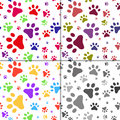Set Of Seamless Pattern With Cats Footprints Stock Images - 63024304