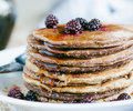 Whole Wheat Oatmeal Pancakes With Blackberry And Syrup Stock Image - 63030371