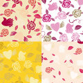 Four Valentine Seamless Patterns Royalty Free Stock Image - 63031816